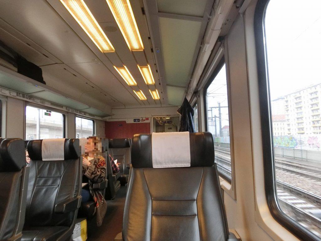 オーストリアの国際特急列車、1等車の車内