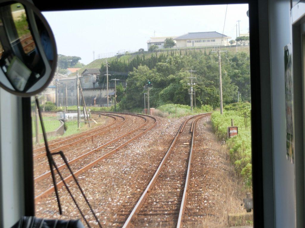 金田駅から複線の伊田線と単線の糸田線が分かれる