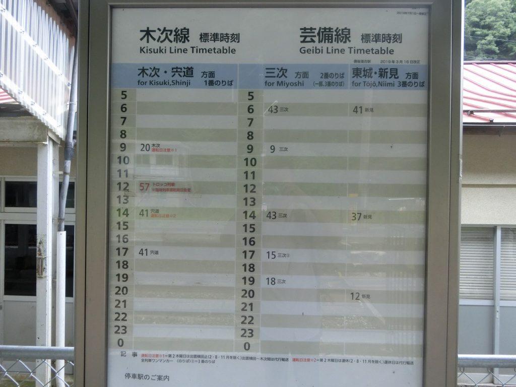 2019年の備後落合駅の時刻表