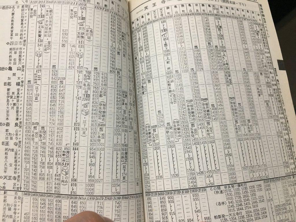 関西本線の1964年10月の時刻表。