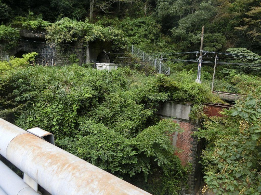 御殿場線の山北~谷峨間の複線時代のトンネルと橋桁