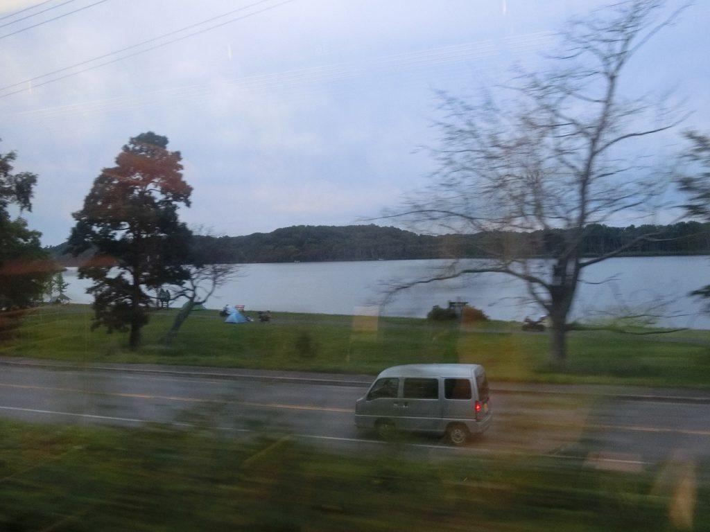 石北本線からの網走川の車窓