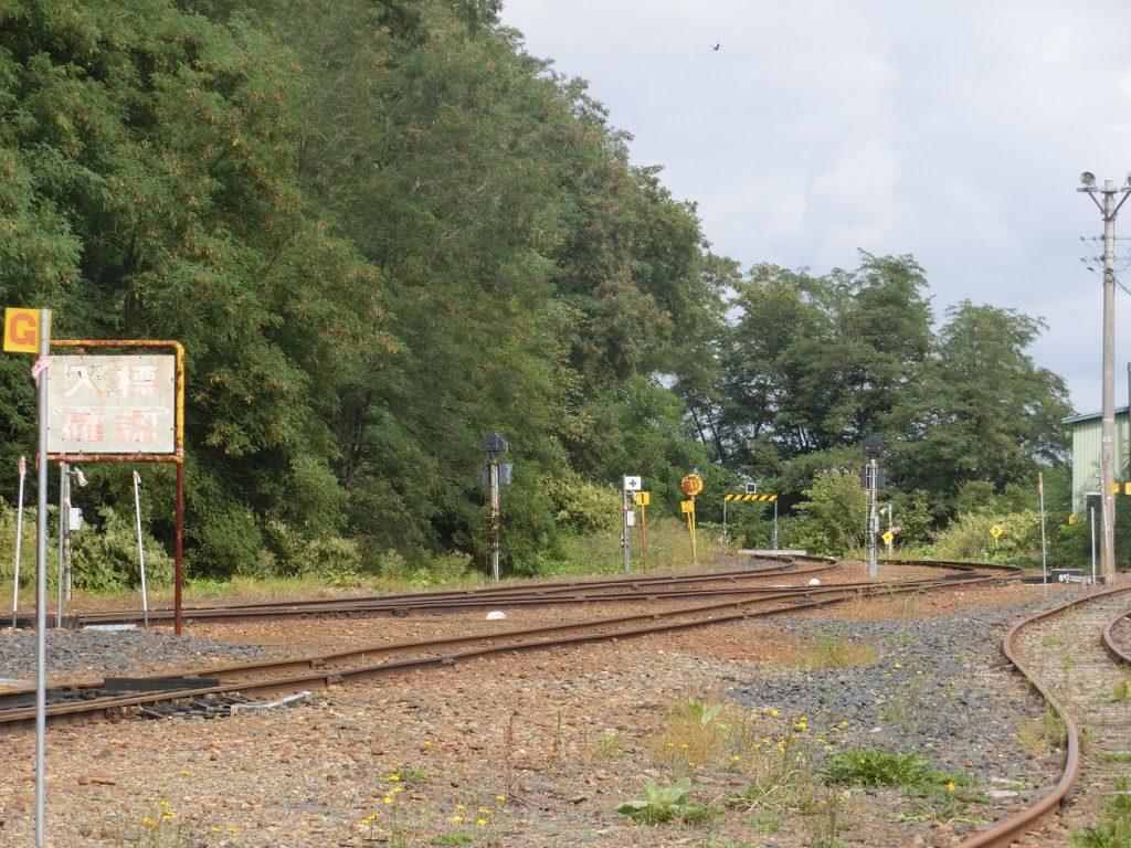 遠軽駅の先から続く名寄本線の線路