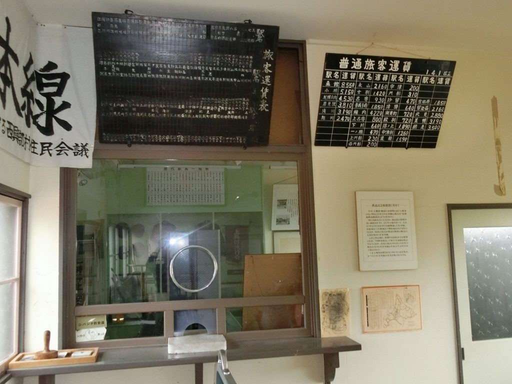 上興部鉄道資料館の内部