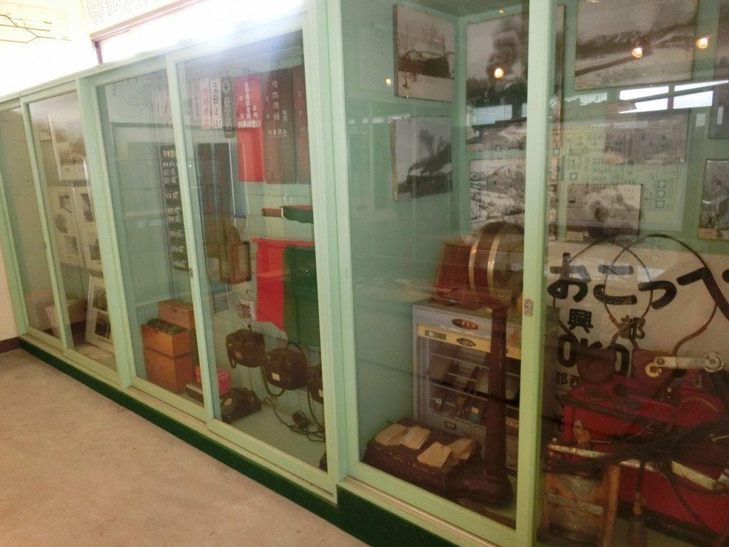 上興部鉄道資料館の駅事務室の展示