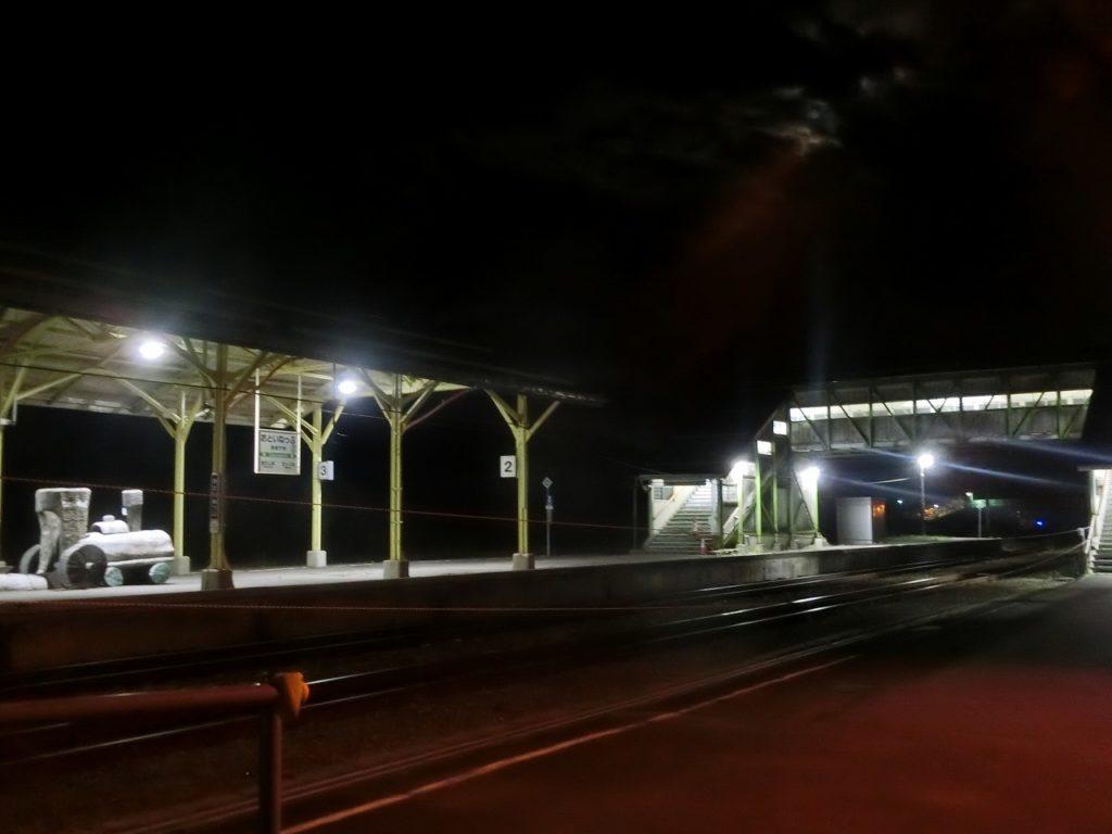 音威子府駅の夜の風景