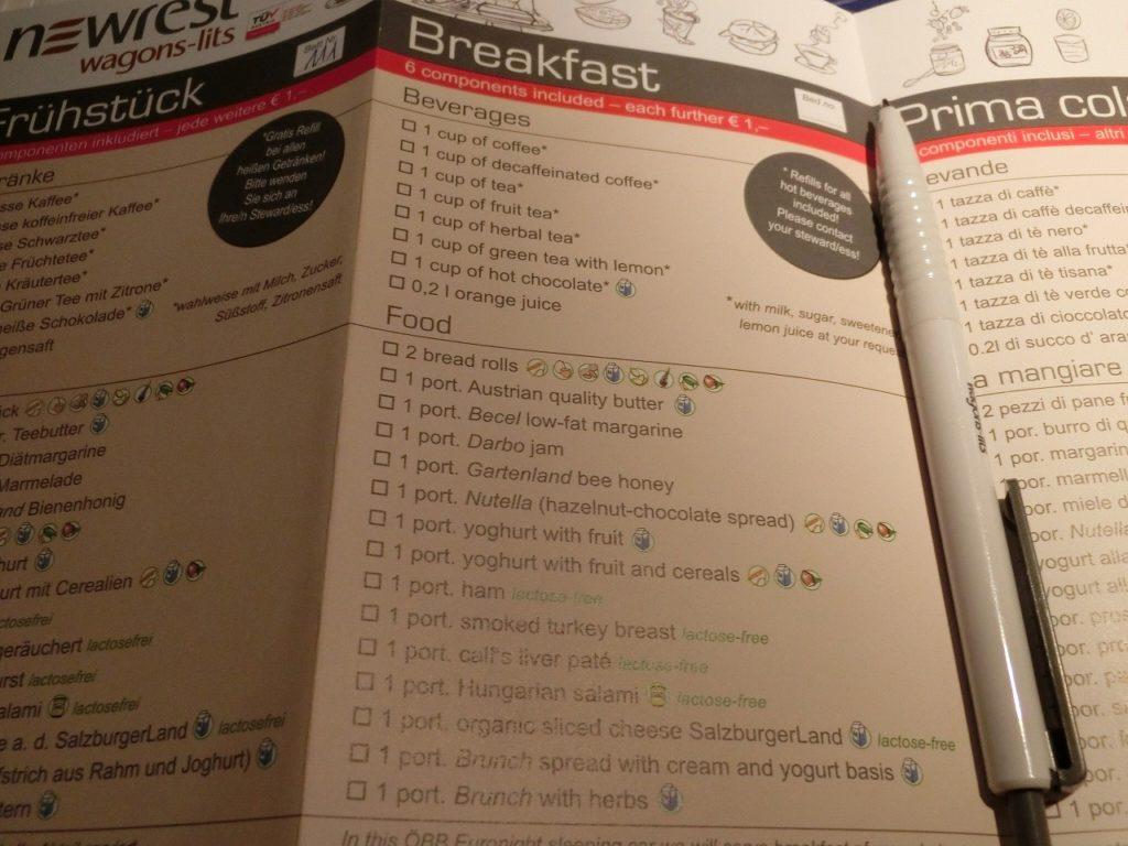 オーストリア国鉄ナイトジェットの朝食のオーダー用紙