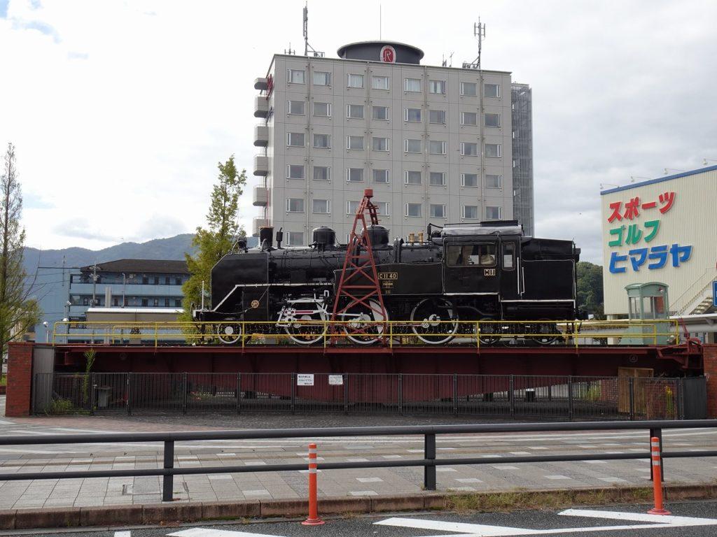 福知山駅前の転車台と蒸気機関車