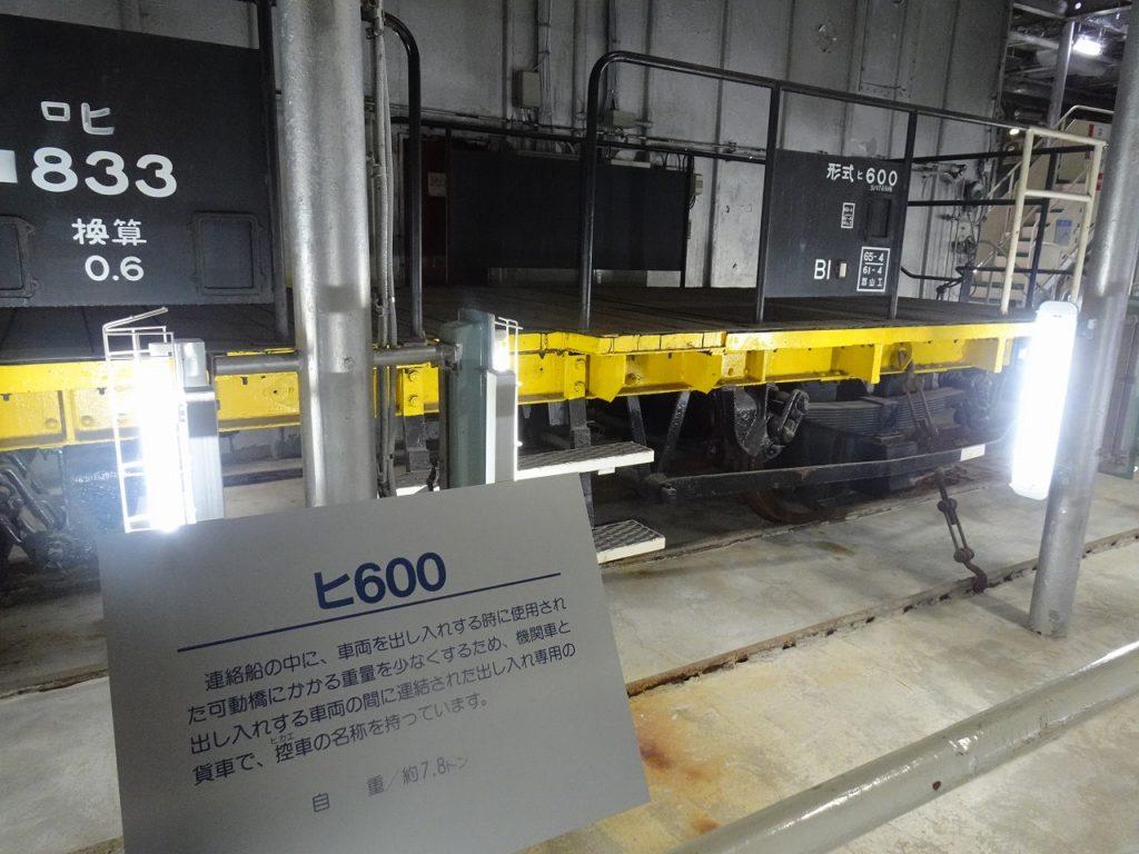 八甲田丸の車両甲板にある控車「ヒ600」