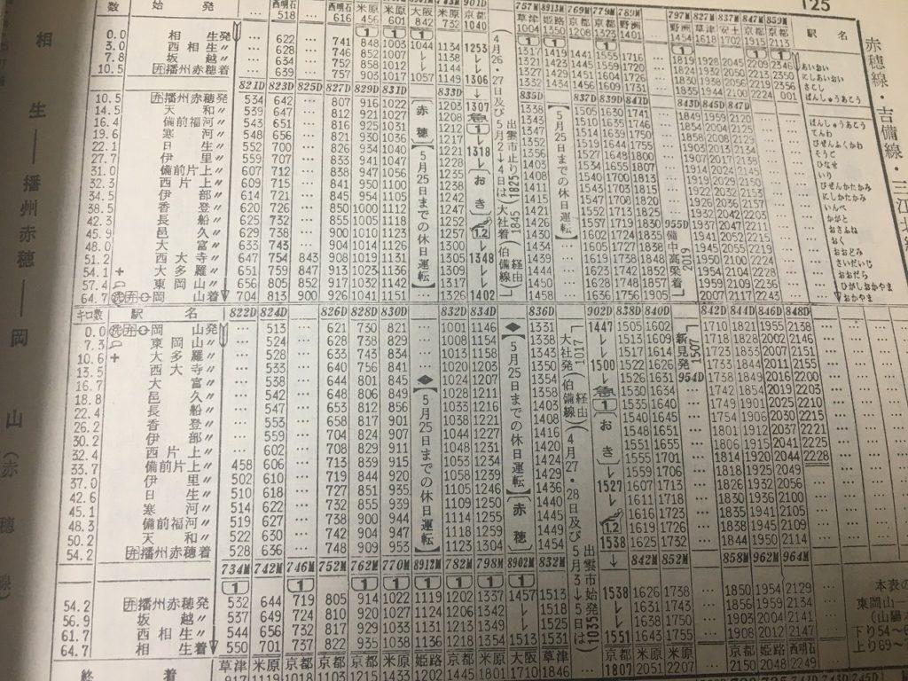 1969年5月号の赤穂線の時刻表
