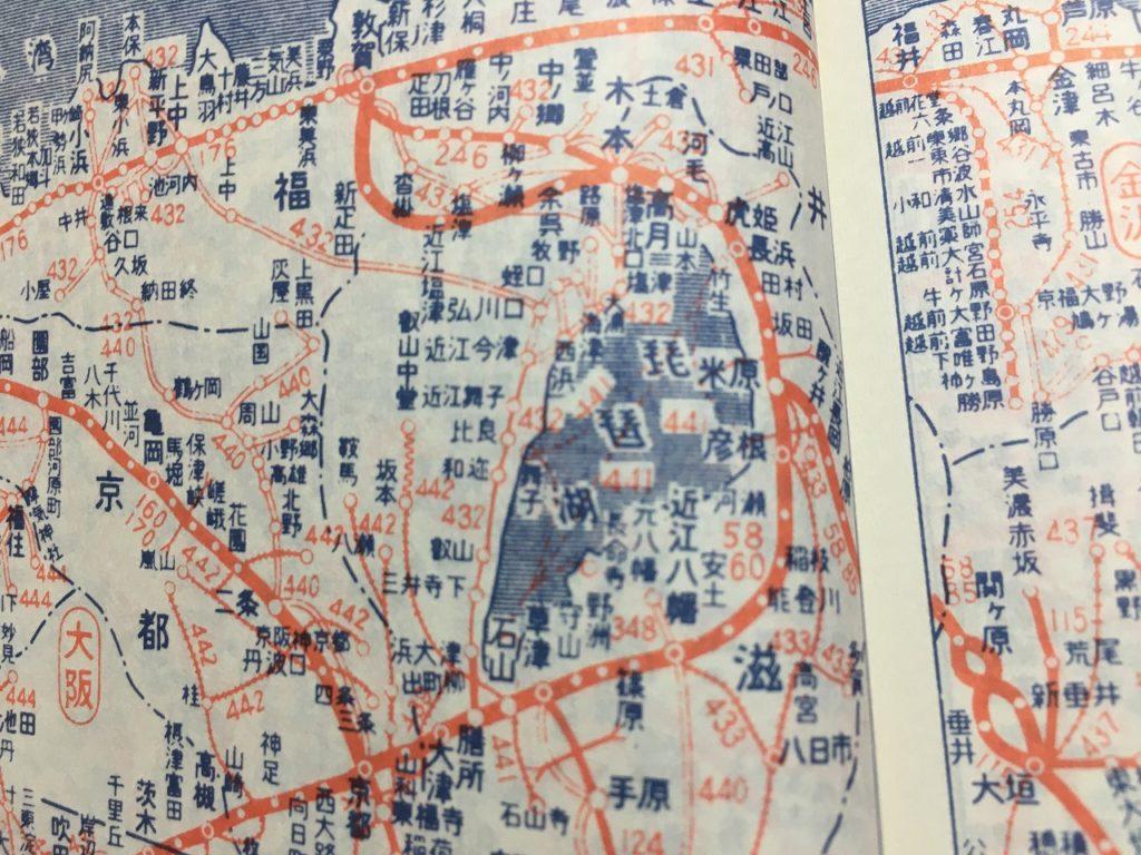 北陸本線の木ノ本~敦賀の新旧線が併存した1961年10月号の時刻表路線図。 太い線が北陸本線で細い線が旧線の柳ケ瀬線。
